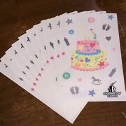 10 Mrs Grossmans Its A Girl Cake Stickers Baby Stork Footprints Toys Shower Pink