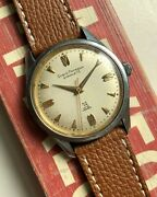 Vintage Girard Perregaux Gyromatic Automatic Steel 39 Jewels Cream Dial Watch