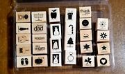Stampin Up Holiday Blitz 27 Mini Stamps - Retired Set From 2007