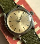 Vintage Tudor Oyster 7965 Automatic Silver Rose Dial 18k Gold Bezel Watch
