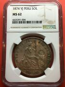 🔥rare In This Condition🔥silver Coin 1 Sol Of Lima Peranduacute Year 1874 Yj Ngc Ms62