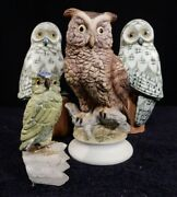 Lot Great Horned Owl Lefton China Porcelain Hand Painted Kw866 Japan And Friends