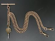 Victorian Antique 9 Ct Rose Gold Double Clip Pocket Watch Alber Chain And Key 42 G