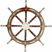 Antique Pirates 36 Ship's Wheel Brass 6 Spoke And Center Section Wooden Wheel