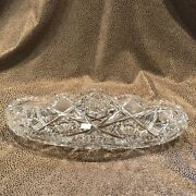 Antique American Brilliant Period Abp Oval Clear Cut Glass Serving Dish Signed