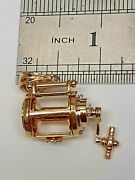 14k Yellow Gold Designed Lantern With Handle You Can Turn Charm Pendant
