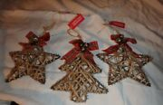 Set Of 3 Christmas Ornaments  2 Stars And 1 Christmas Tree Wire And Twine New