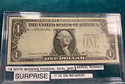 Extremely Rare 1981 One Dollar Note With Federal Seal @ Serial Number On Reverse
