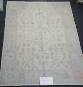 Hand Knotted Turkish Oushak Oriental Fine Wool Area Rugs Colors Ivory 9.6x13.3