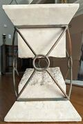 Vintage Mid Century Modern Tessellated Fossil Stone Side Console Patio End Table