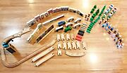 Melissa And Doug,toy R Us 124 Pc. Wood Train City Blocks,cars,people, Signs, Trees