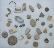 Lot Of 32 Dug Civil War Relics - Bullets Buttons And More...
