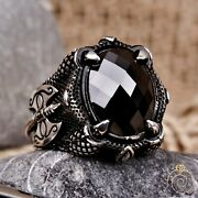 Viking Axe Signet Ring Antique Norse Medeival Handmade Jewelry Black Stone Claw