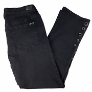 Seven7 Womens Sz 14 Black Stretch Jeans Mid Rise Ankle Boot Eyelet Bottoms 30x28