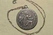 Vintage 17j Movado Sterling Silver St. Christopher Pendant Coin Watch W/chain