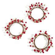 3pcs Candle Rings For Pillars,red And Gold, Small Wreaths For Christmas,rust Bn1