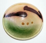 Hawaii Pottery Bowl W. Painted Motif On White By Charles Higa 1933-2012brm