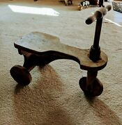 Antique Wooden Toy Tricycle.