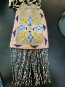 1900 Apache Indian Beaded On Both Sidesandnbsp Fringed Hide Pouch
