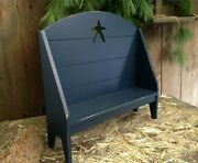 New Primitive Country Farmhouse Handcrafted Colonial Blue Doll Hearth Bench