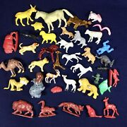 Lot Of 38 Vintage 1960and039s Small Plastic Toy Animals - Farm Wild Domestic Grab Bag
