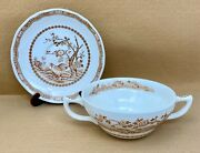 Furnivals Brown Quail Cream Soup Bowl And Saucer - Updated 4/21/21