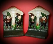 Vintage Bradley And Hubbardno Evilgnomecast Iron Marked Bookends