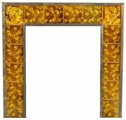 Vibrantly Colored American Victorian-era Majolica Fireplace Tile Surround