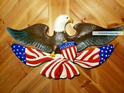Spectacular Bald Eagle American Flag Heraldry Wood Bird Carving By Casey Edwards