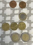Greece Euro Coin Lot Of 9 And Canadian 1 Cent