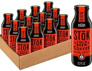 Stok Cold Brew Black Coffee Not Too Sweet 13.7 Oz Pack Of 12