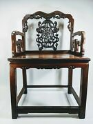 Qing Dynasty Antique Hand Carved Arm Chair Bat Snakes Deer