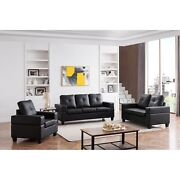 Boutwell 3 Piece Transitional Living Room Set Upholstered Faux Leather Cha...