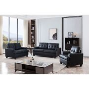 Molina 3 Piece Transitional Living Room Set Upholstered Faux Leather Chair...