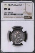 1912 Canada 25 Cents Ngc 62 80 Silver Currency Coin