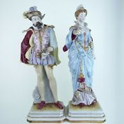 16 Huge Scheibe Alsbach Germany Figurine Pair Man And Woman Mantle Pieces