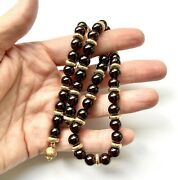 """Lovely Garnet And 14k Yellow Gold Bead Beaded Necklace, 17"""" 56.6g"""
