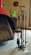 Deluxe Wood Stove/fireplace Set-27, Poker/tongs/ember Rake/shovel With Stand-fs