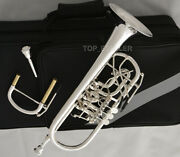 Professional Rotary Valve Trumpet C Key Upper Register Silver Plated 3mouthpiece