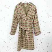 Anthropologie Coat Sz 6 Pink Green Elevenses Wool Trench Belted Uncommon Journey
