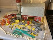 Vintage Farm Play Set Made In Portugal Tin Barn Animals Farmers Tractor