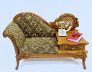 Dollhouse Miniature Wooden Walnut Gossip Bench With Antique Telephone And Book