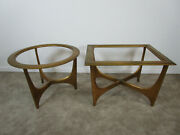Pair End Tables By Lane Furniture Pearsall Style Mid-century Modern Atomic Age