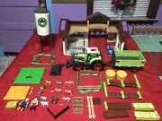 1997 Playmobil Country Farm Barn House With Silo, Tractor With Trailer, 5119