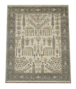 8x10 Ivory Willow Tree Oushak Hand-knotted Wool Rug Oriental Carpet 8 X 9.10