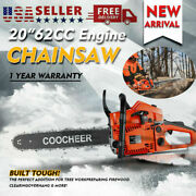 Coocheer 62cc 20 Gas Chainsaw Handed Petrol Wooden Saw 2 Cycle 4hp