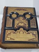 Massive Antique 1860 Pictorial Family Holy Bible - Pronouncing Edition - Briggs