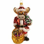 The Whitehurst Company Santa Reindeer With Presents 6 Ornament Glass Blown