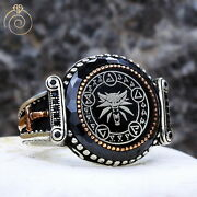 Witcher Geralt Wolf Signet Ring Axii Magical Custom Band Aard Igni Yrden Seal