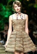 8095 2020 Dolce And Gabbana Embroidered Natural Raffia Runway Dress Us 0 2 It 36